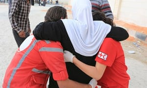 Syrian Red Crescent volunteers at work