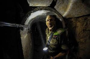 Gaza tunnels: Israeli Brigadier General Micky Edelstien shows the inside of a tunnel near