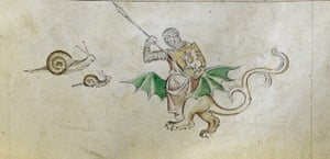 Knight vs snail: A detail from the Queen Mary Psalter, England, 1310-1320