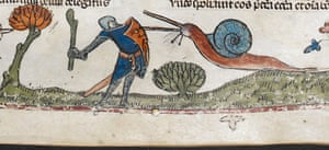 Knight vs snail: A detail from the Smithfield Decretals, southern France (probably Toulouse)