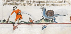 Knight vs snail: Detail from the Smithfield Decretals, southern France (probably Toulouse),