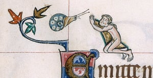 Knight vs snail: A detail from the Gorleston Psalter, England (Suffolk), 1310-1324