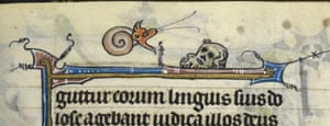 Knight vs snail: A detail from a fragmentary Book of Hours, France (St Omer), c. 1330