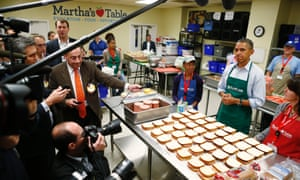 President Barack Obama speaks to reporters as he visits Martha's Table, which prepares meals for the poor and where furloughed federal employees are volunteering, in Washington, Monday, Oct. 14, 2013.