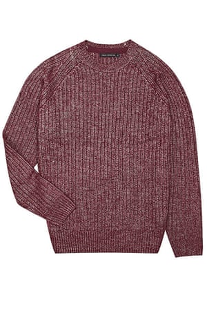 jumpers - weekend fashion: Burgundy ribbed woollen jumper
