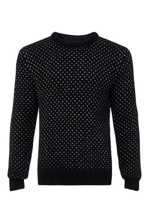 jumpers - weekend fashion: Black woollen jumper with white flecks