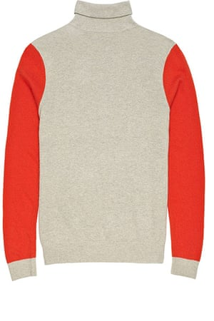 jumpers - weekend fashion: Beige woollen polo neck with bright red arms