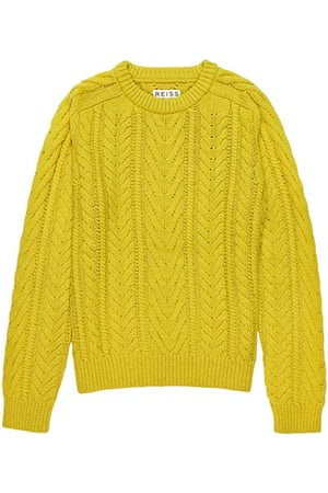 jumpers - weekend fashion: Bright yellow woollen cable knit jumper