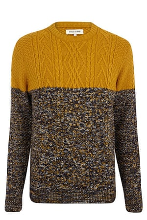 jumpers - weekend fashion: Split colour woollen jumper Mustard and flecked brown
