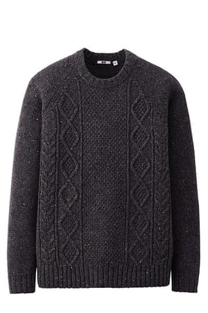 jumpers - weekend fashion: Dark grey cable knit jumper