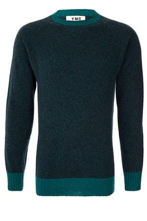 jumpers - weekend fashion: Dark turquoise woollen jumper bright turquoise cuffs and crew neck detail.