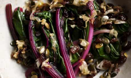 Wilted chard with caramelised onions and sultanas