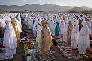 Eid al-Adha: Indonesian muslims perform Eid Al-Adha prayer at Parangkusumo beach in Yogy
