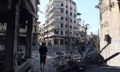 War-damaged buildings in Homs, Syria