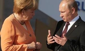 Vladimir Putin and Angela Merkel at the G20 summit in St Petersburg