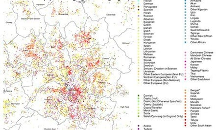 Census 2011 Language map of Greater Manchester
