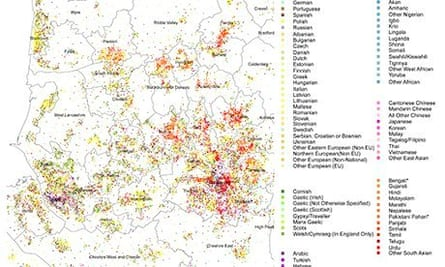 Census 2011 Language map of North West England