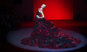 A model showcases a gown by Dubai-based Philippines fashion designer Michael Cinco in Singapore during the Fide Fashion Week Asian Couture show.