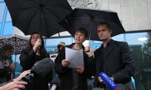 Green Party MP Caroline Lucas talks to reporters as she leaves Crawley Magistrates Court, UK. Lucas pleaded not guilty to charges related to a protest at the exploratory drilling site in Balcombe in August. She will face trial in the new year.