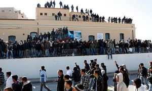 Migrants from North Africa arrive in Lampedusa