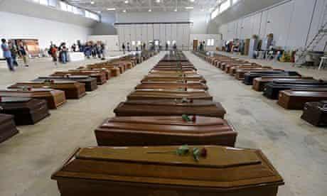 coffins at Lampedusa airport