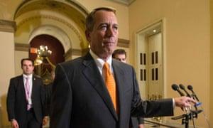 Forlorn: Republican Speaker John Boehner walks to the House floor during the vote.
