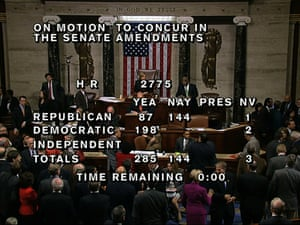This image from House Television shows the final passage vote total of 285-144 in the House of Representatives on the bill to avoid a national default and end the 16-day partial government shutdown in Washington, Wednesday night, Oct. 16, 2013.