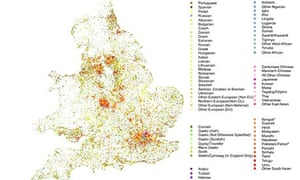 Census 2011 Language map of England and Wales