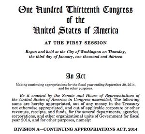 US spending bill, October 17