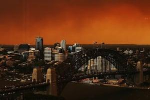 Australia fires: Sydney Harbour Bridge and North Sydney CBD shrouded in smoke haze
