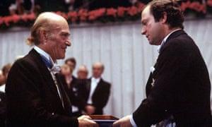 Greek Poet Odysseus Elytis Left Receives The Nobel Prize For Literature From Swedish King Carl XVI Gustaf In Stockholm Sweden On 10 December 1979