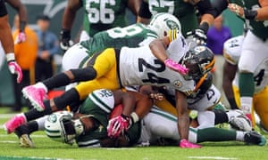 0b858f2f6 Jets running back Bilal Powell is tackled by Steelers cornerback Ike Taylor
