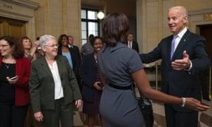Joe Biden greets workers