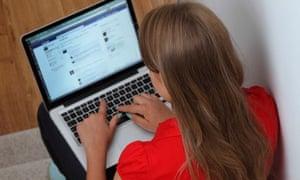 Girl using Facebook