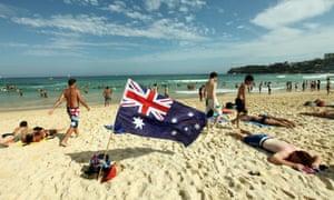 Australia Day Bondi beach Australian flag