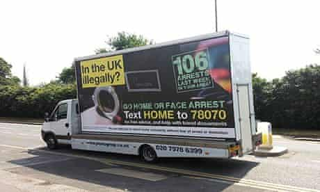 The text message programme follows a pilot of van advertising telling illegal immigrants to go home