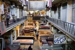 Iran Tourism Push: The carpet section of Tehran's Grand Bazaar