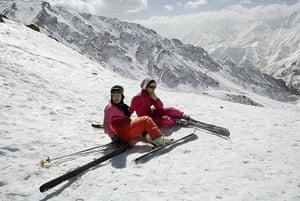 Iran Tourism Push: Iranians on holiday at Shemshak ski resort