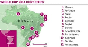 World Cup 2014 host cities graphic