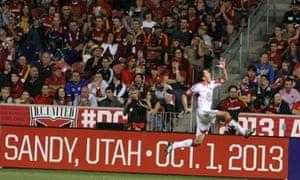 D.C. United's Lewis Neal celebrates his goal against Real Salt Lake