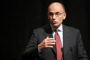Italian premier Enrico Letta gestures as he gives his speech at a meeting in Rome,
