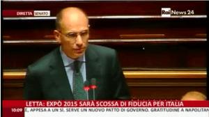 Enrico Letta speaking in the Italian Senate