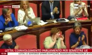 Senators applauding Enrico Letta