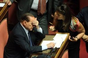 Former Prime Minister Silvio Berlusconi attends the confidence vote for Enrico Letta's government at the Italian Senate, Palazzo Madama on October 2, 2013 in Rome, Italy.