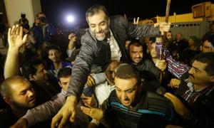 One of the nine released Lebanese pilgrims on arrival in Beirut.