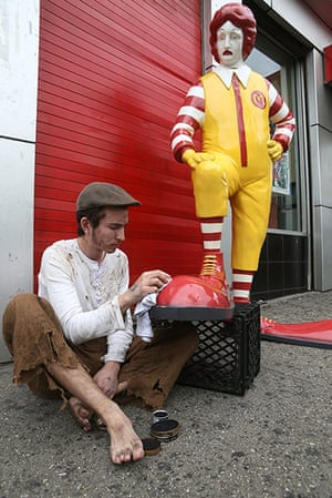 Banksy in New York City: South Bronx: A fibreglass Ronald McDonald statue