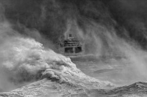 Landscape photography: ferry in storm
