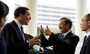 Chancellor George Osborne talking to Ren Zhengfei, president of Huawei Company.