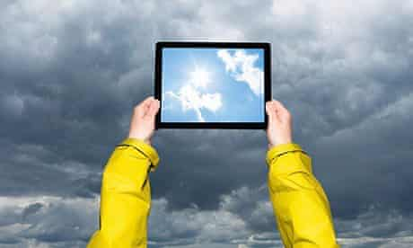 Viewing a storm on a tablet computer