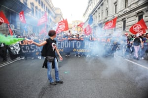 Thousands of people took to the streets of Rome on Saturday for an anti-austerity protest, with a massive security presence in place amid fears of clashes.